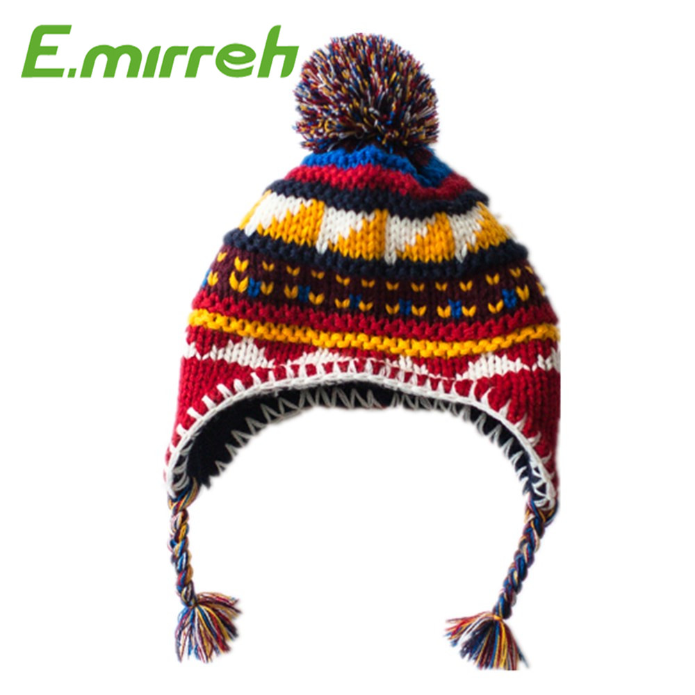 Home Prefer Girls Boy Fair Isle Jacquard Knit Hats Earflap Peruvian Hat with Pom