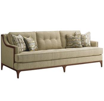 Barclay Sofa Wood Trimmed Sofa Button Tufted Living Room Furniture Hotel  Sofa