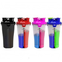Double body fitness water bottle protein powder shake cup plastic cup with scale mixing cup large capacity layering