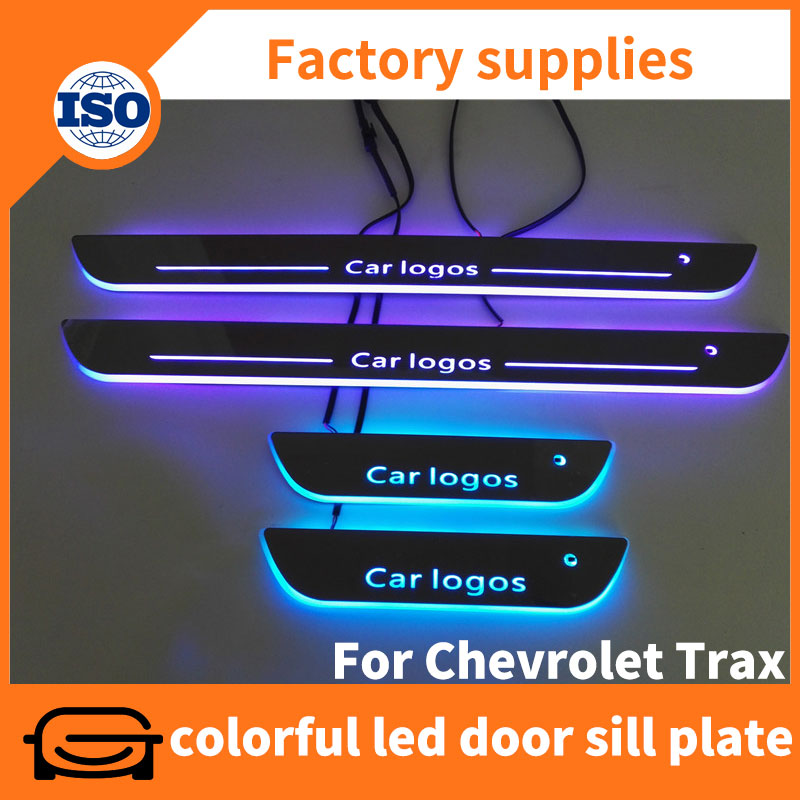 Tuning car accessories acrylic led moving door sill plate for Chevrolet Trax 2014-2016