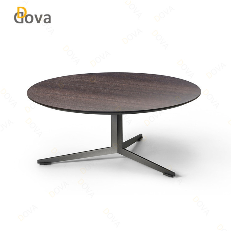 2018 DOVA Interior design contemporyary wood top metal base round coffee table