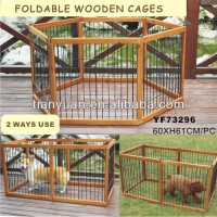 2 Ways Use Foldable Strong Wooden Stainless Steel Pet Cage For Dogs