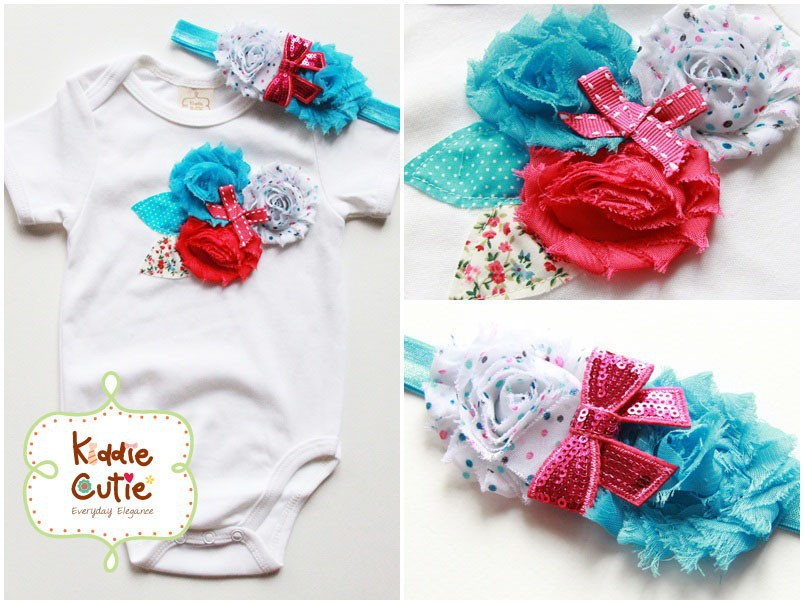 "Triple Flowers Bodysuit with Matching Headband ""Mystic Waters"""