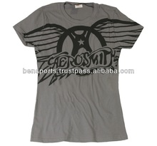 Band T-shirts 100% Cotton Womens Aerosmith Winged Logo T-Shirt