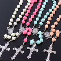 Handmade 8mm crochet decade rosary bracelet christian rosary rose beads necklace with factory price