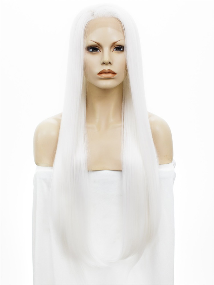 Wholesale Cheap Top Grade Quality Synthetic Hair Lace Front Wigs White Long 30inch Straight Drag Queen Wig