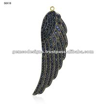 New Design Women Angle Wing Feather Pendant Jewelry, 14k Gold Blue Sapphire Gemstone Feather Pendant, Handmade Women Jewelry