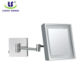 Folding square led wall mounted bathroom makeup mirror
