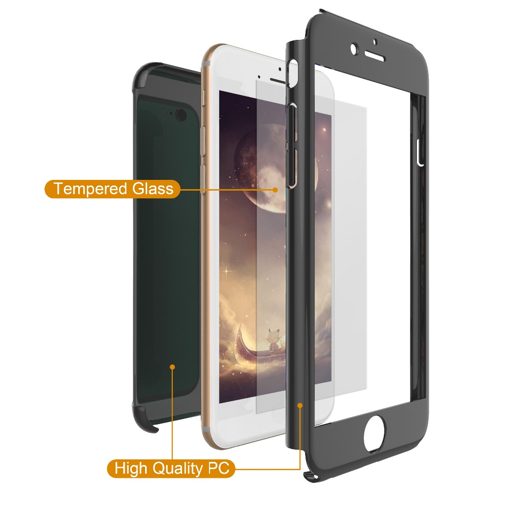 Ultra thin 360 degree Full cover protective hard plastic cell phone case with screen tempered glass for iphone 6 6s plus