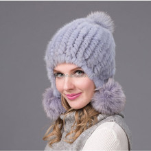 Custom Ladies Fashion High Quality Knitted Mink Fur Russian Hat