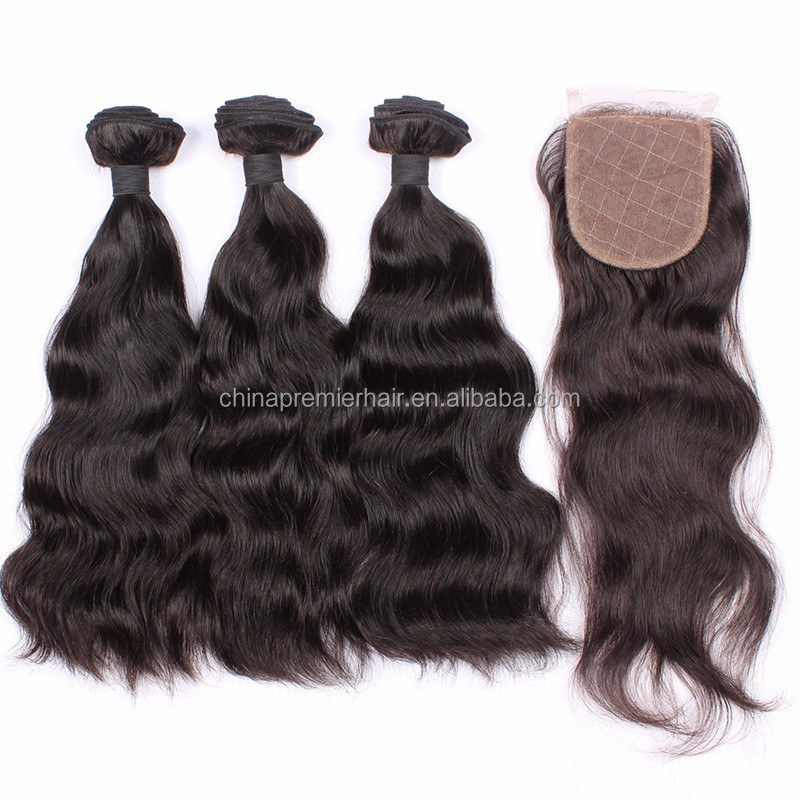 Unprocessed Wholesale Virgin Brazilian Human Hair 3 bundles hair weaving with lace closure