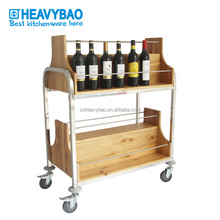 Heavybao Wooden Stainless Steel Serving Cart Red Wine Trolley
