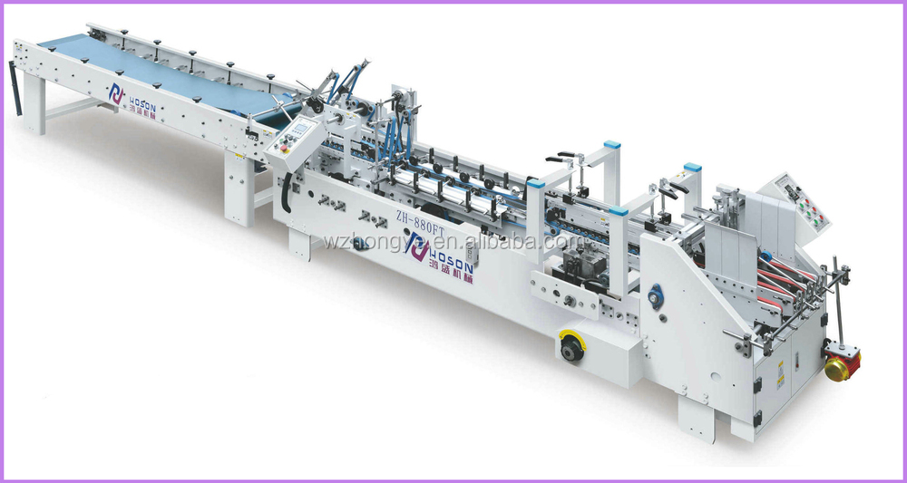 ZH-880FT Automatic Simple Side Pasting Small Box Folding Gluing Machine
