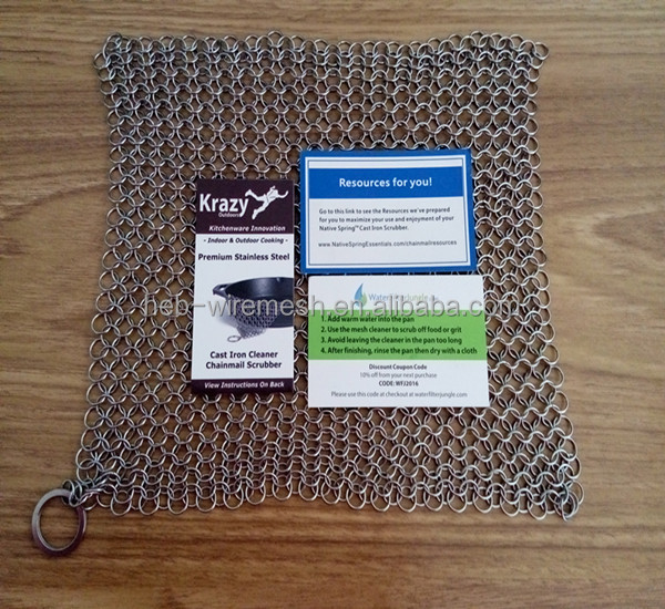 Stainless Steel Chainmail Scrubber for Cast Iron Pans & Cookware - XL 8x6 inches - 316 Highest Grade
