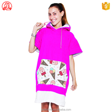 Summer 100% cotton kite surf adult Hooded beach poncho