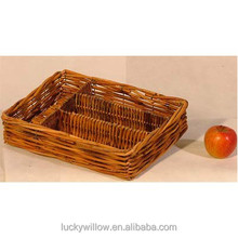 brown wicker serving food egg tray