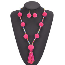 KDA6534 cheap costume jewelry pom pom necklace and earring sets