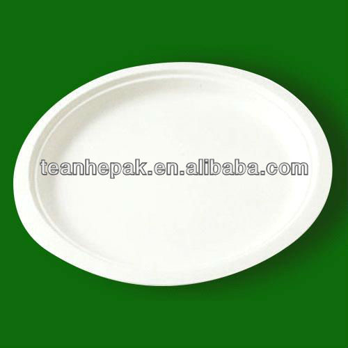 9 inch disposable paper plate compostable sugarcane fiber plate