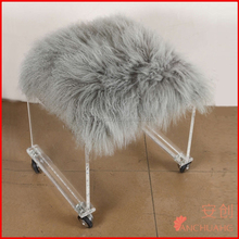 Tibetan Lamb Fur Stool with acrylic furniture legs