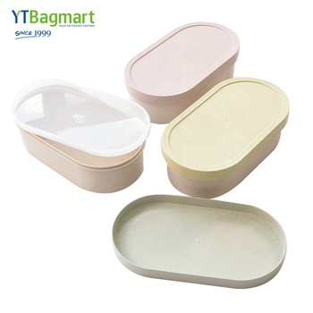 Eco friendly Oval Shape Large Capacity 2 layer Bento Box Wheat Straw food Container