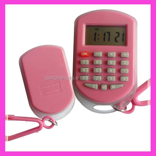 Mini cute key chain calculator with time display