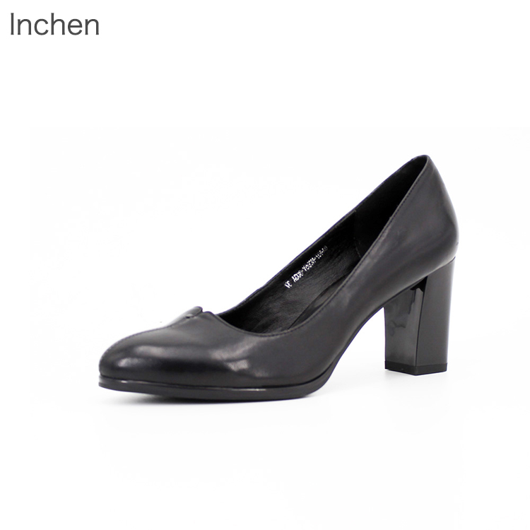 Genuine leather ladies shoes sheeskin high heel thick heel elegant office shoes party dress shoes black