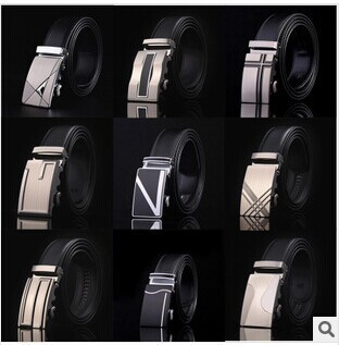 120cm Man's Official Black Real Leather Belt with Simple Automatic buckle
