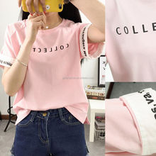Wholeslae Women Apparel Korea Fashion Women Girl Loose Casual Cotton Summer Blouse Tops T Shirt