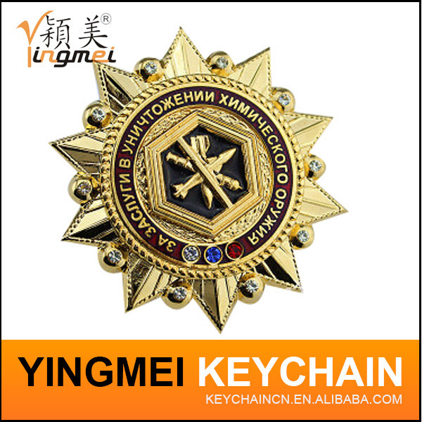 cheap clip safety/sheriff /security emblem custom military pin metal badge with your own design