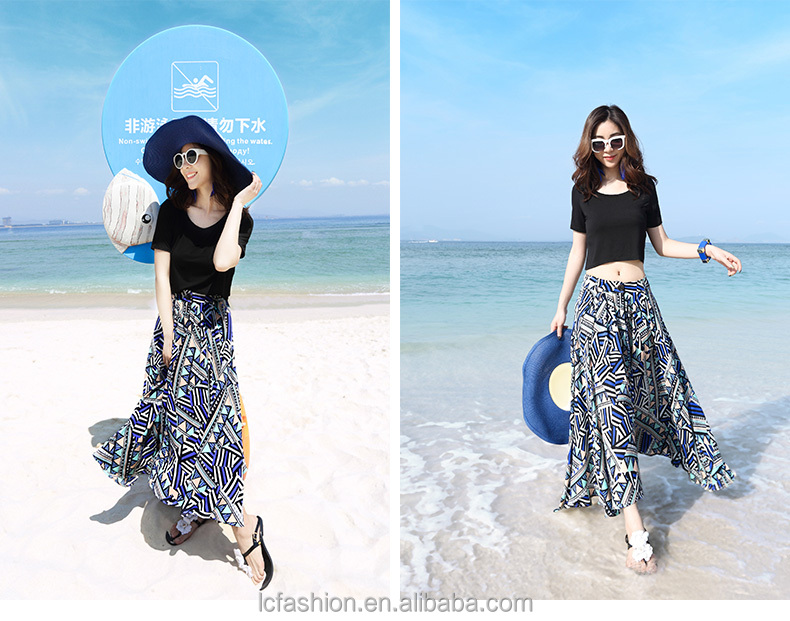 factory price wholesale summer fashion chiffon african print beach wear women skirt