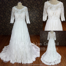 Alibaba see through lace cover full wedding dress bridal gown 2018 Half sleeve A line evening dress