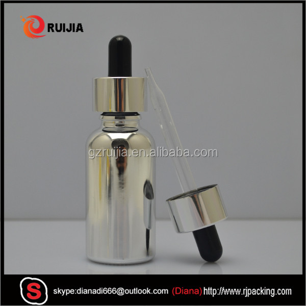 golden silver glass dropper bottle 15ml 30ml gold silver plated olive e-cig Oil Glass dropper bottles