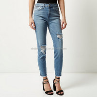 LJ6309 2016 Mid blue wash ripped Lori skinny jeans China jeans manufacturer