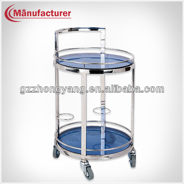 Round Liquor Glass Trolley/Wine Service Cart/Tea Serving Trolley With Caster