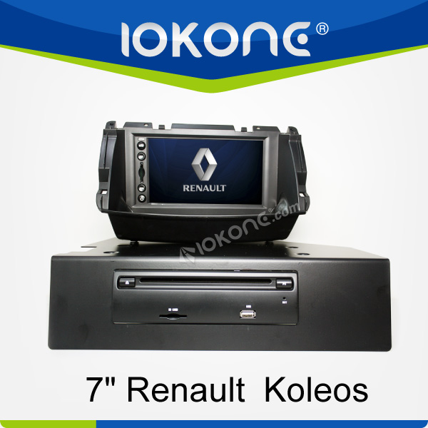 "factory 7"" HD Touch screen renault koleos double din car dvd with TMC, camera, mic, dvb-t"