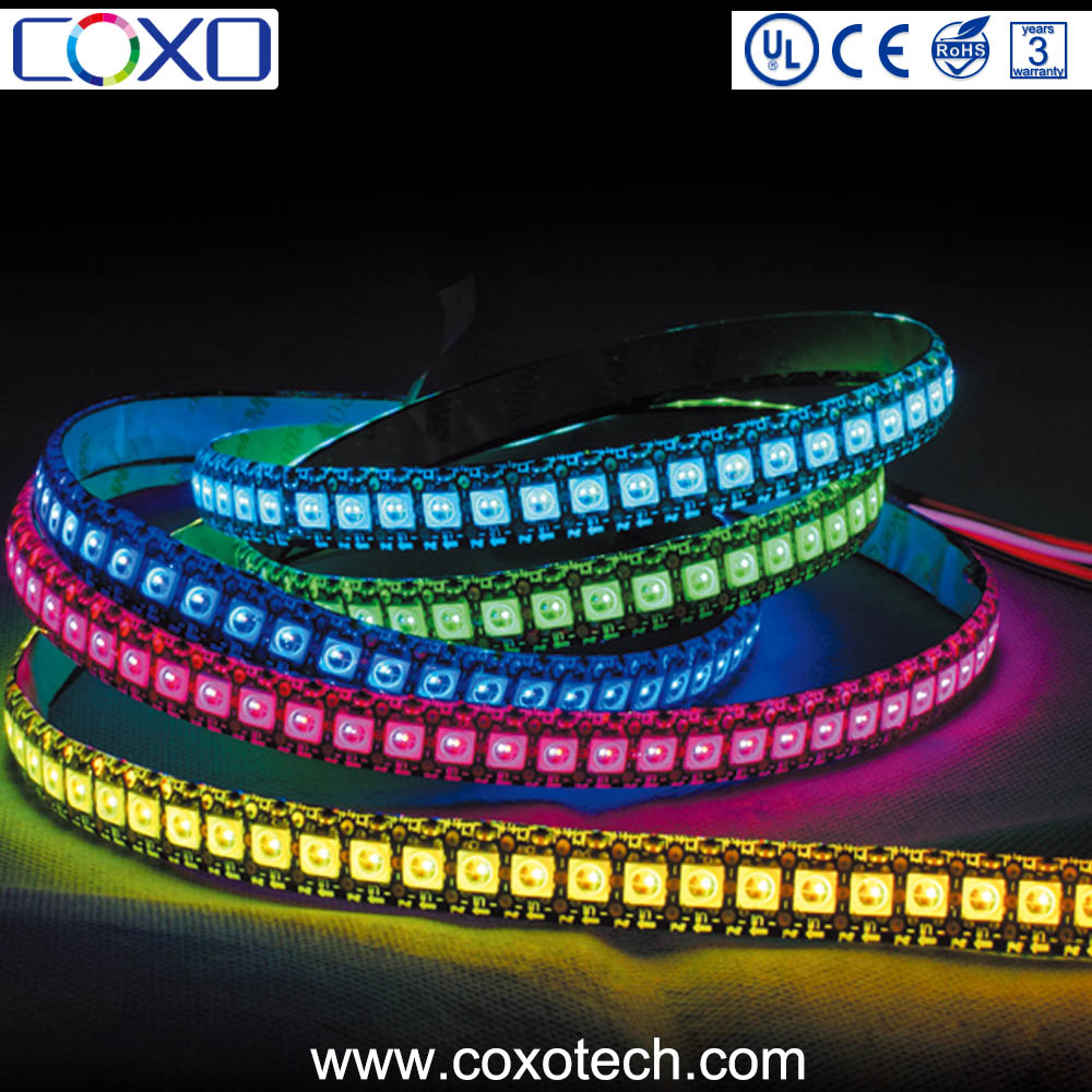 New Arrivals 5V WS2812b IC 30 / 60 / 144 Pixel Programmable Addressable Digital RGB Led Light Strip