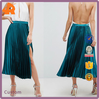OEM high quality plain green sexy girls skirt,wholesale long pleated skirt