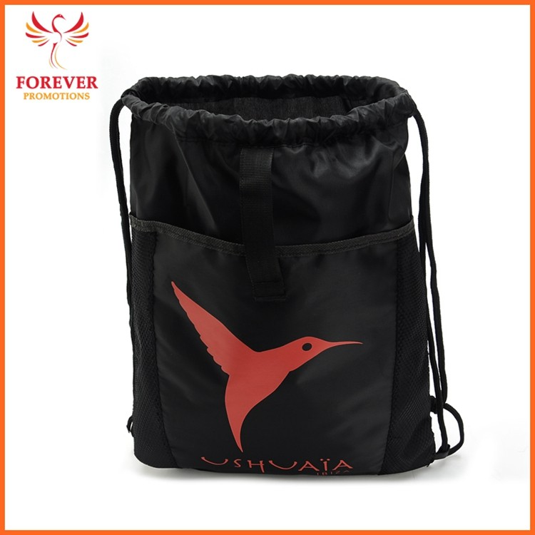 Hot Selling Drawstring Backpack Nylon Sports Backpack With Front Pocket Chinese Supplier