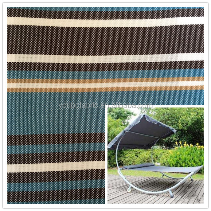 Custom Garden casual chair with sun shade awning fabric black and blue stripe design plain woven fabrics