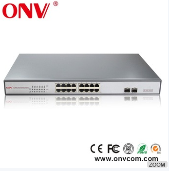 16 port Fiber Optic Ethernet POE Switch cctv system oem for USA UK INDIA market