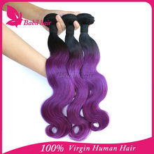 Chinese manufacturer 100% pure vrigin brazilian human hair sew in human hair weave ombre hair