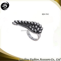 Factory Distributor European Style Single Silver Angel Wing Ring