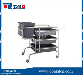 round tube s/s dish collecting cart