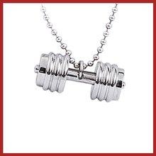 "Dumbbell Barbell Weight Fitness 316L Stainless Steel Charm 24"" Chain Pendant Necklace"