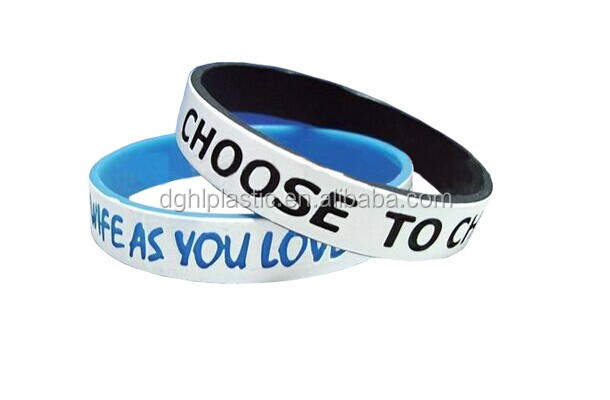 double side printed cilicone wristband bracelet with customized logo