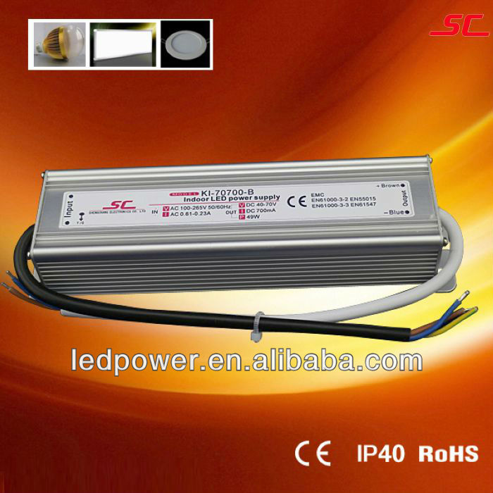 KI-70700-B Indoor constant current ac dc led driver 700ma 50W IP40