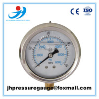 "60mm bottom mounting brass movement pressure gauge 2.5"" 6000psi manometer with CE certified"