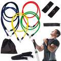 Natural latex fitness band set included 2 foam handle 2 ankle strap 1 door anchor 1 carry bag