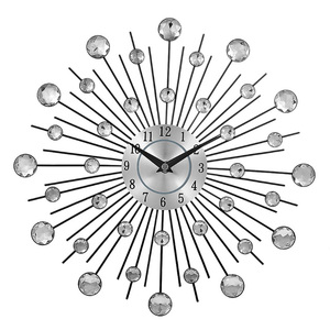 Vintage Metal Crystal Sunburst Diamond Jeweled Wall Luxury Clock