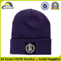 Design your own woven label in stock wholesale cheap beanie hats